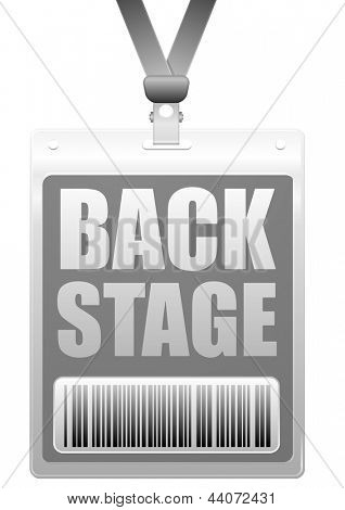 detailed illustration of a plastic backstage badge with barcode, eps10 vector