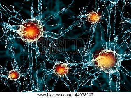 Illustration of a nerve cell on a colored background with light effects poster