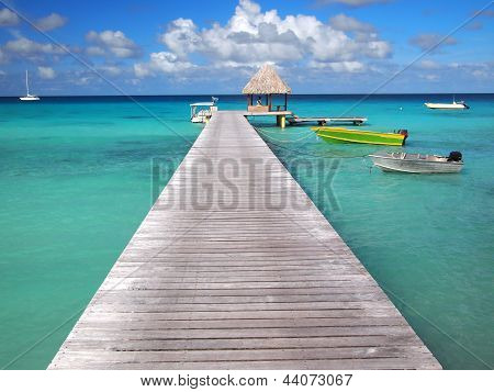 Boats attached to a pier and a thatched hut inside the tropical lagoon of the pacific atoll Rangiroa an island of the Tahiti archipelago French Polynesia. poster