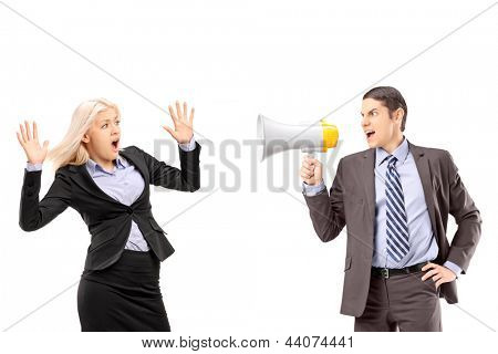 Afraid businesswoman and her manager shouting with a speakerphone isolated on white background