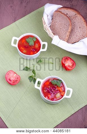 Two Plates With Soup