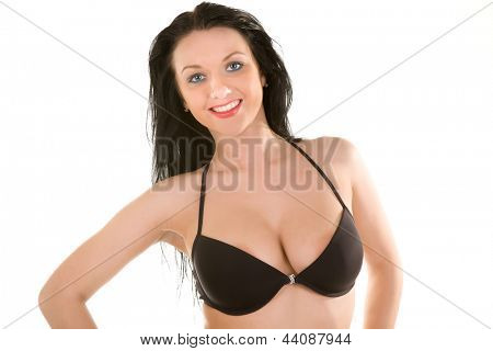 attractive brunette in beautiful black linen. Isolated on white