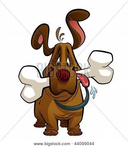 Cartoon Dog With A Big Bone