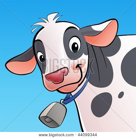 Smiling Cow With A Cowbell