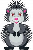 Vector illustration of Cute porcupine cartoon standing poster