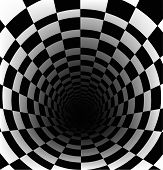 Checkerboard background with perspective of deeper effect poster