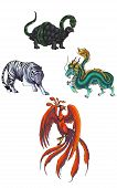 4 Chinese mythical creature gods called Shijin which consist of Dragon, Tiger, Turtle, and Phoenix poster