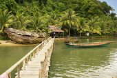 Wooden jetty at local village Ream National Park Cambodia Southeast Asia poster