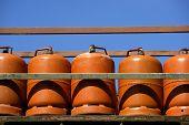 Botellas bombonas butano color Naranja. Orange Gas Racks poster