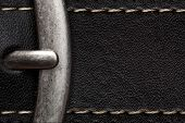 closeup of clasp belt detail or black leather background with clamp poster