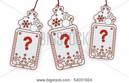 Isolated Christmas Labels With Question Sign