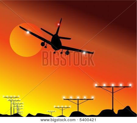 Airplane Landing in the sky with high constrast colors poster