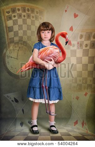 Alice trying to play croquet with flamingo