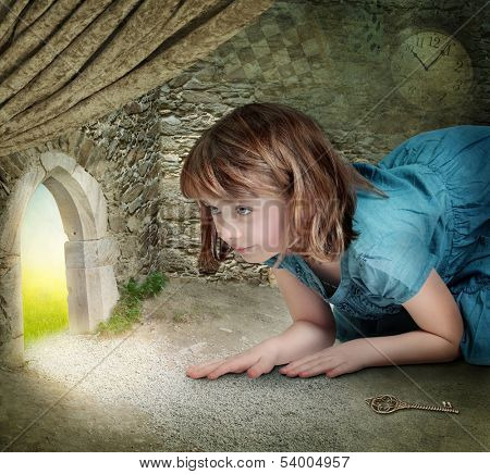 Alice finding tiny door behind curtain