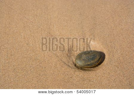 Stone on a sandy beach