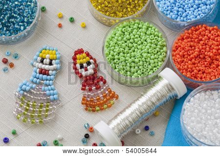 Beaded matreshkas and colorful beads poster