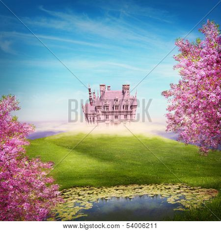 Fairy tale landscape with castle