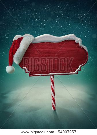 Wooden red sign and santa hat