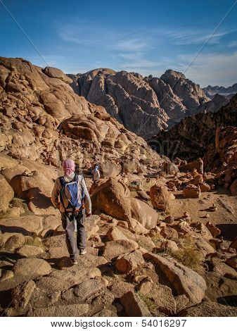 Pilgrims Walking Down from the Top of Mount Sinai in Egypt