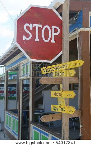 Signpost at the street of San Pedro, Belize