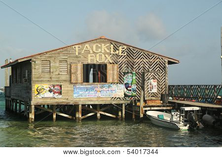 Popular Tackle Box Bar and Grill at the waterfront in San Pedro, Belize
