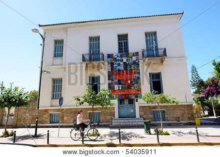 Kalamata, Greece - June 7: The Building With Paintings And Cyclist On June 7, 2013 In Kalamata City,