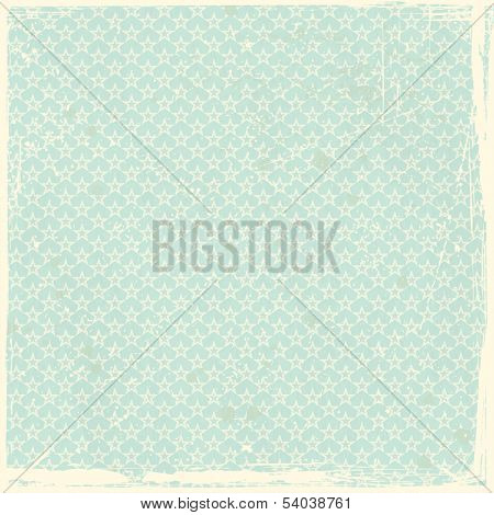 Pale green, blue grunge background, stained and scratched with seamless star pattern.