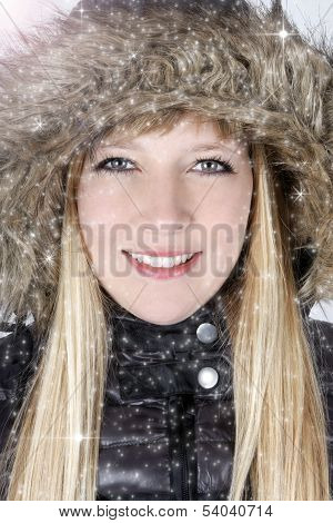 Young Woman In Furry Hood