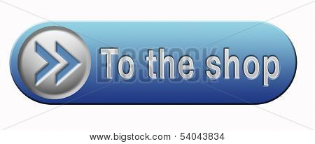 Shop sign go to the online webshop button, internet web shopping icon