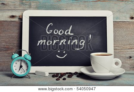Cup Of Coffee With Blackboard