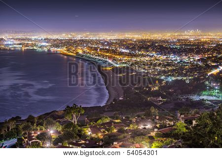 The Pacific Coast of Los Angeles, California as viewed from Rancho Palos Verdes. poster