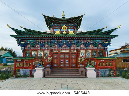 Ivolginsky Datsan - One of the largest Buddhist monasteries in Russia. Entrance to the monastery. Republic of Buryatia Russia close to the border of Mongolia. poster