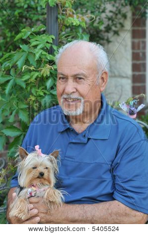 Hispanic Senior and his dog