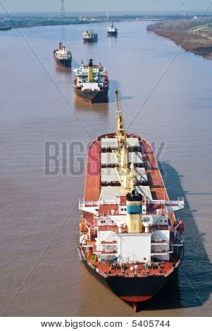 Cargo Ships On Mississippi River