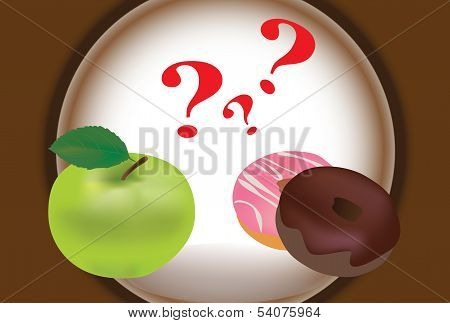 Vector of a Green Apple and Donuts