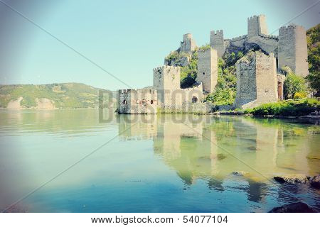Golubac Fortress on Danube River in Branicevo region of Serbia. Vintage colors. poster