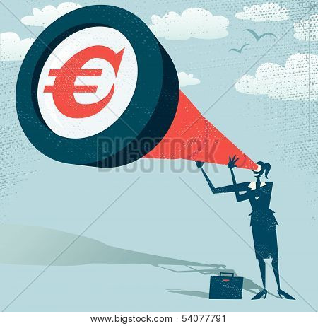 Abstract Businesswoman Looks Through Her Telescope For Euros