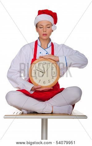 Cook Eyes Closed And With The Clock