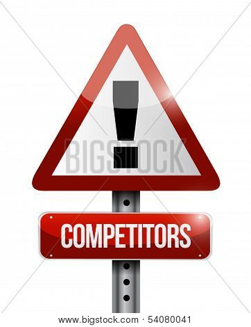 Competitors Warning Road Sign Illustration