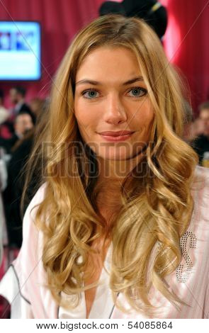 NEW YORK NY - NOVEMBER 13: Model Jessica Hart backstage at the 2013 Victoria's Secret Fashion Show