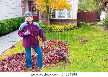 Healthy Active Senior Raking Leaves