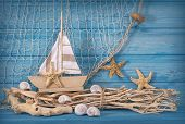 Marine life decoration and on wooden shabby background poster