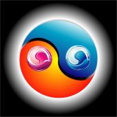 Ying Yang Glossy Colorful style with high constrast colors poster