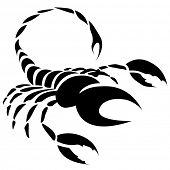 Illustration of Black Scorpio Zodiac Star Sign isolated on a white background poster