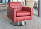 Showroom modern furniture shop with red luxury leather armchair poster