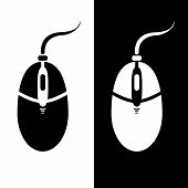 Monochrome computer mouse silhouette. Abstract vector illustration. poster