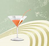 Retro cocktail glass - vintage poster art - party background poster