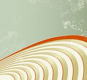Sound waves - retro background with curved lines - abstract golden record poster