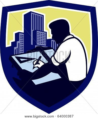 Illustration of an architect draftsman holding pencil and t-square drawing viewed from side set inside shield crest shape with buildings on isolated background done in retro woodcut style. poster