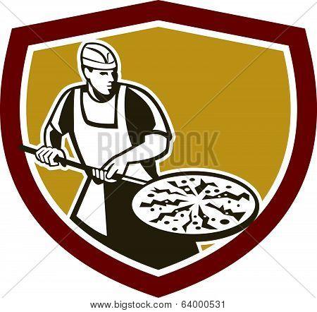 Pizza Maker Baking Bread Shield Retro